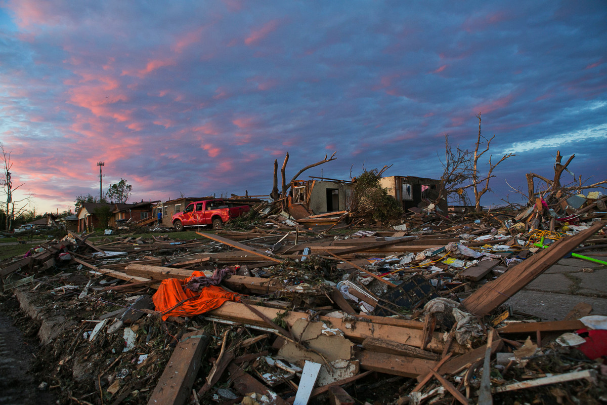 Aftermath of a tornado in Moore, OK