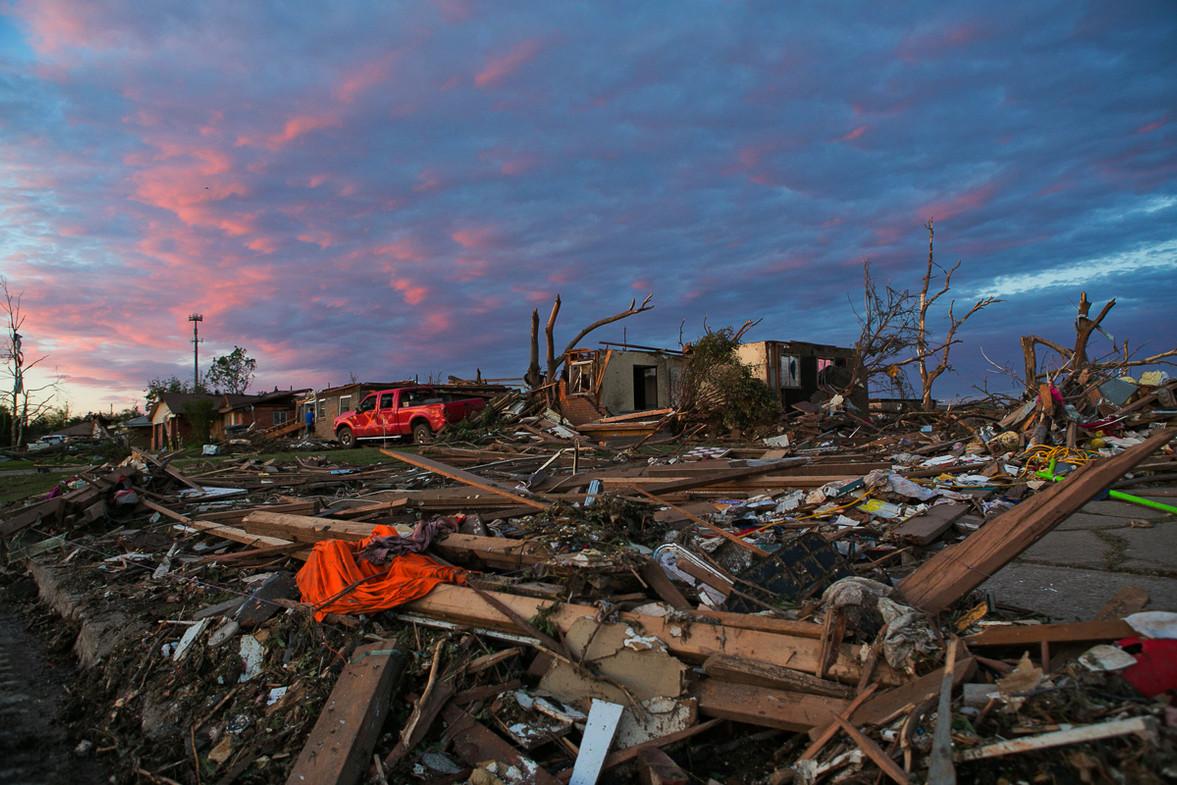 Aftermath of a tornado in Moore, OK