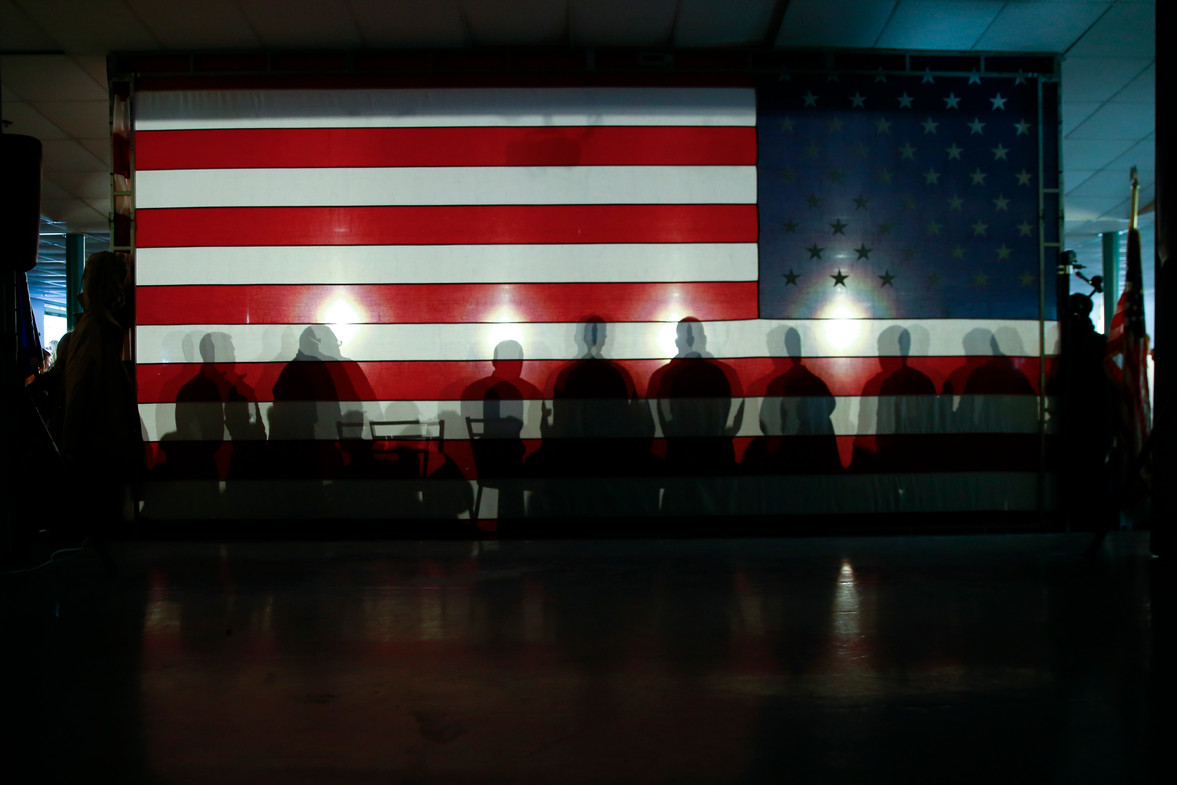 A scene from a Chris Chritie townhall in New Hampshire during the 2016 Presidential Primaries