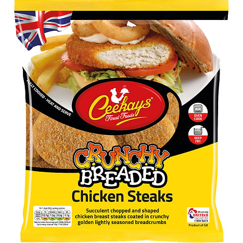 Ceekays Crunchy Breaded Chicken Steaks.