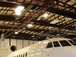 Radiant Tube Heaters in Airplane Hanger