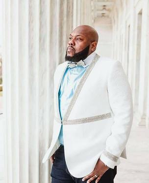 White and Silver Jacquard Tuxedo Jacket