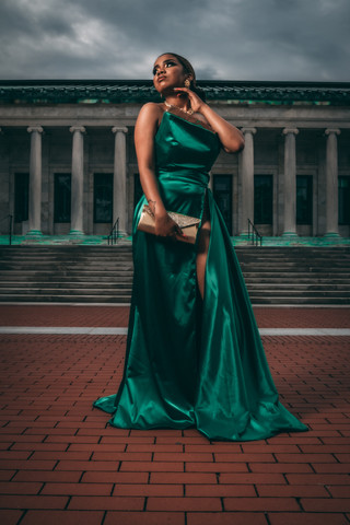 Emerald Green and Gold Gown