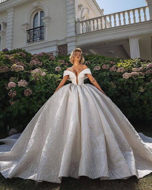 Beaded Plunging Cuffed Off-the-Shoulder Ball Gown