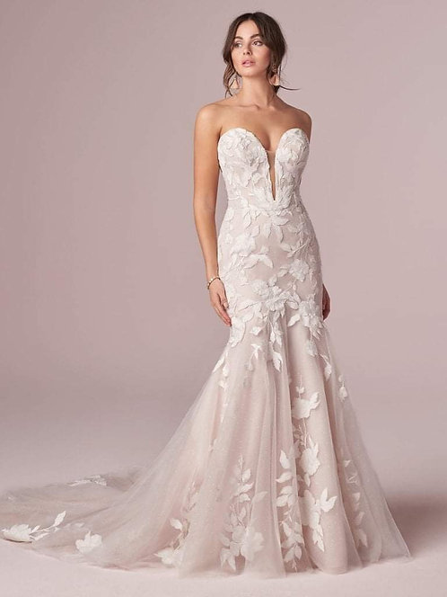 Plunging Sweetheart Mermaid with Lace Overlay