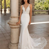 Plunging V-Neck Lace Sweep