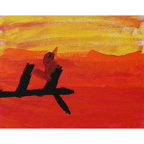 Bird at Sunset on canvas board