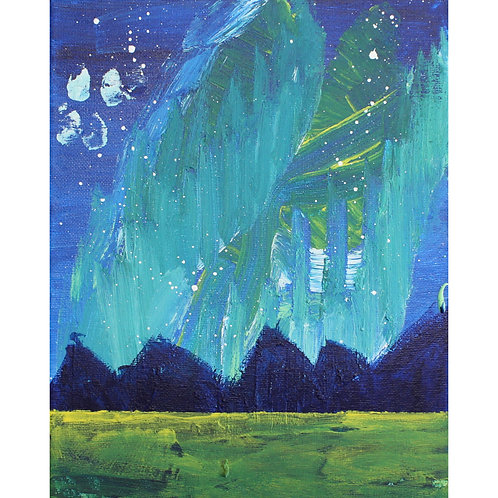 Northern Lights Painting 8x10