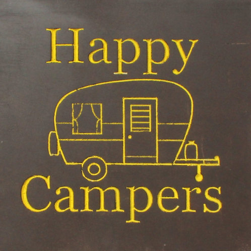 Happy Camper CNC engraved wood