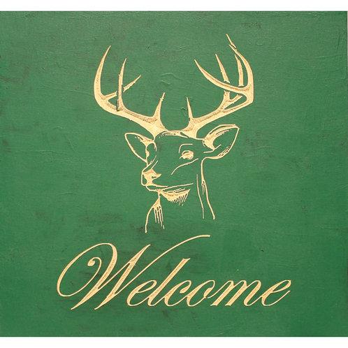 Welcome Deer CNC engraved wood
