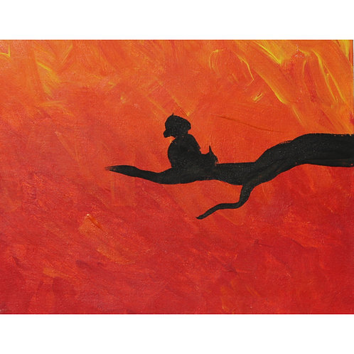 Bird Silhouette painting on canvas board