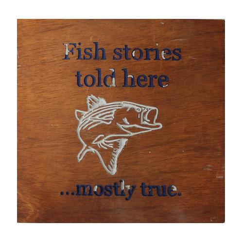Fishing Stories CNC Engraved Wood