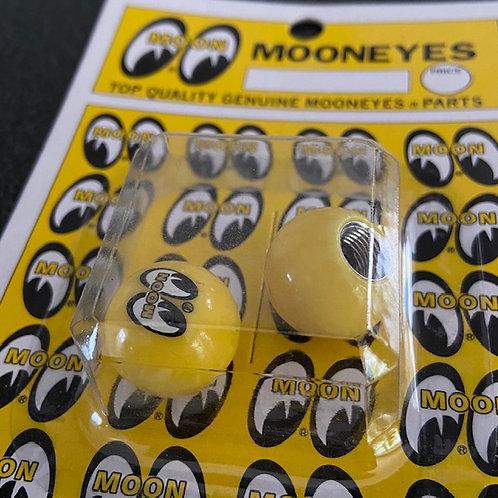 MOONEYES Yellow Valve Caps (a pair)