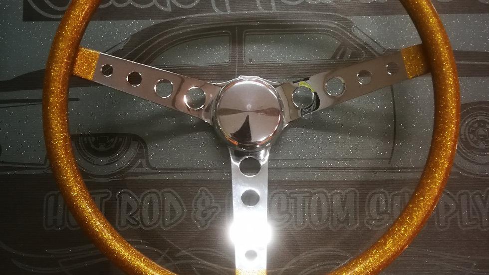 """mooneyes gold 15"""" steering wheel with holes"""