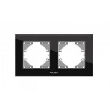 VIDEX BINERA Рамка черное стекло 2 поста горизонтальная.