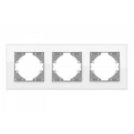 VIDEX BINERA Рамка белое стекло 3 поста горизонтальная (VF-BNFRG3H-W) (12/96)