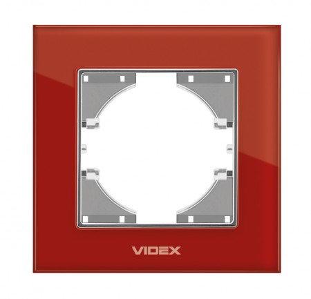 VIDEX BINERA Рамка красное стекло 1я горизонт (VF-BNFRG1H-RD)