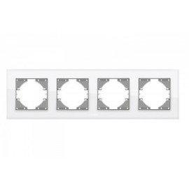 VIDEX BINERA Рамка белое стекло 4 поста горизонтальная (VF-BNFRG4H-W) (6/48)