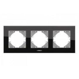 VIDEX BINERA Рамка черное стекло 3 поста горизонтальная