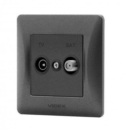 VIDEX BINERA Розетка TV+SAT конечная черный графит (VF-BNSK2TVSATE-BG) (20/120)