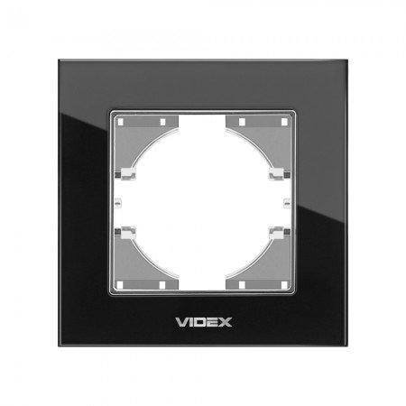 VIDEX BINERA Рамка черное стекло 1я горизонт (VF-BNFRG1H-B)