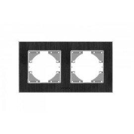 VIDEX BINERA Рамка черн алюм 2я гориз (VF-BNFRA2H-B)