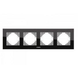VIDEX BINERA Рамка черное стекло 4 поста горизонтальная.