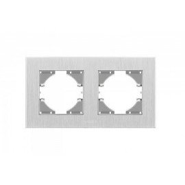 VIDEX BINERA Рамка серебр алюминий 2я  горизонт (VF-BNFRA2H-SL)
