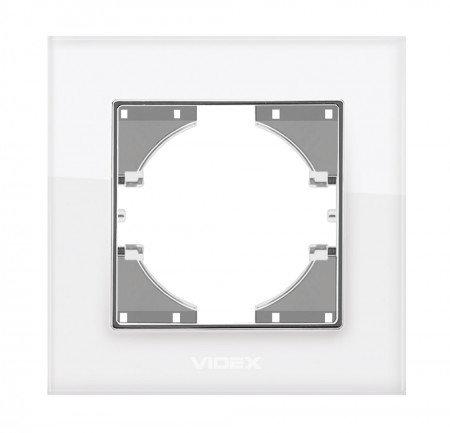 VIDEX BINERA Рамка белое стекло 1я горизонт (VF-BNFRG1H-W)