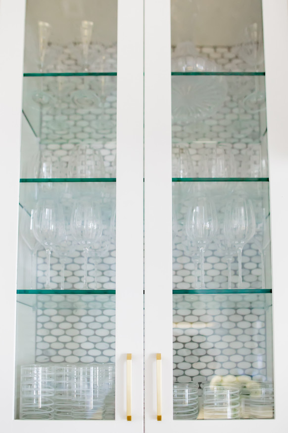 glass shelves with tile