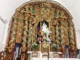 Santuario del Acebo. Retablo mayor, obra del escultor cangués Manuel Ron de Pixán