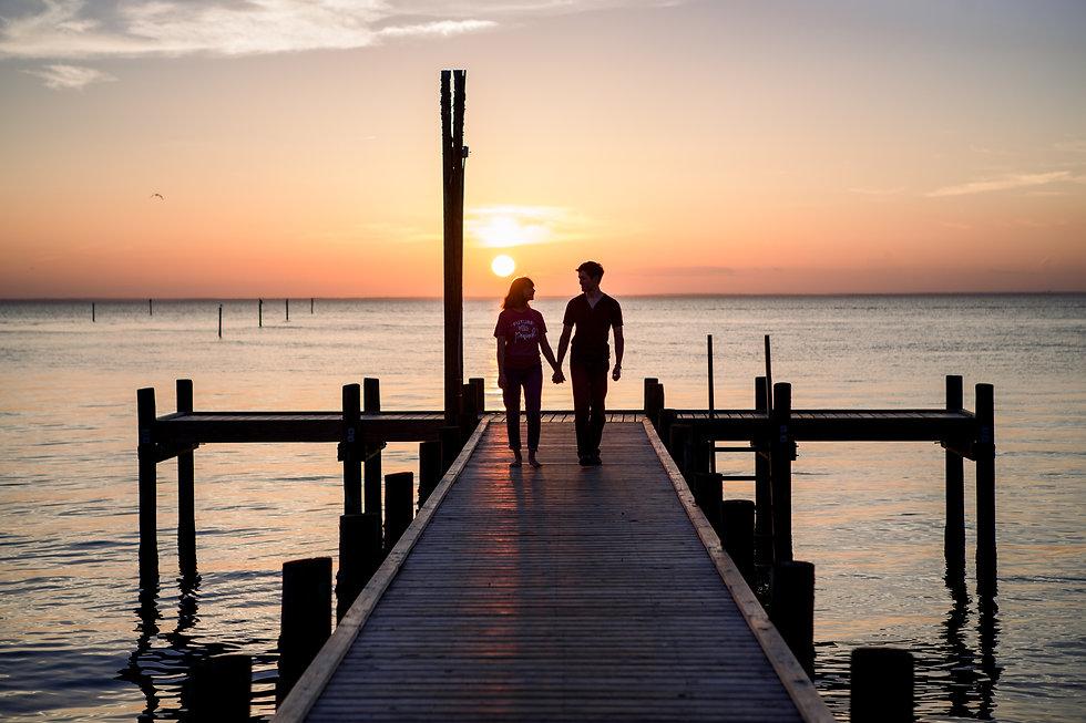 Sunset Engagement Photo Fairhope Pier in Fairhope, Alabama