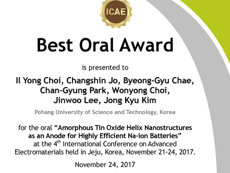 "2017, ""Best Oral Awards"", ICAE, Il Yong Choi"