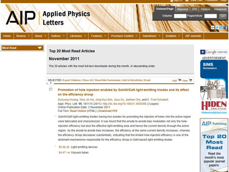 """2011, """"Top 20 Most Downloaded Articles"""", Applied Physics Letters, Sunyong Hwang"""