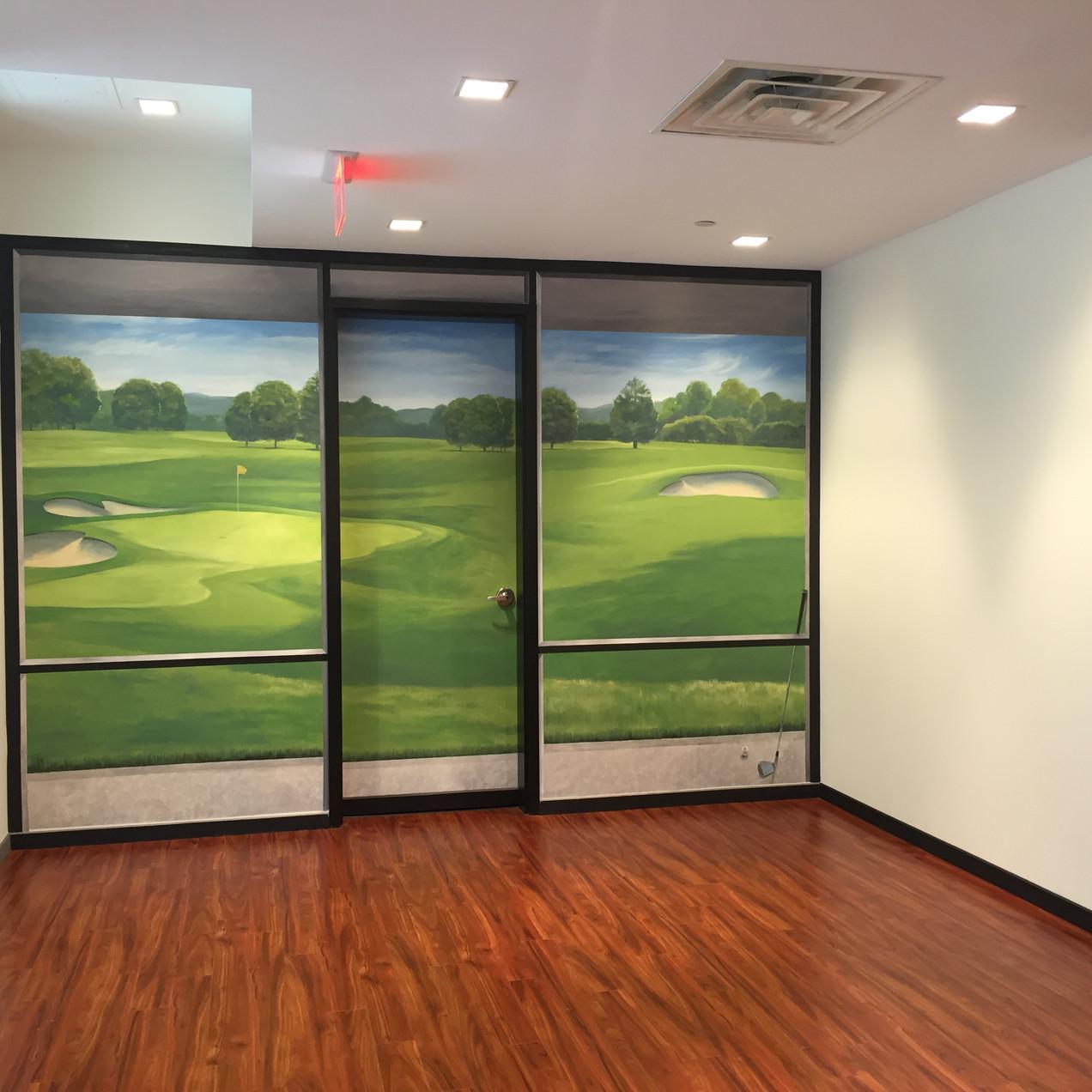 HP Mural Golf Simulator Room Entrance On