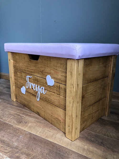 Rustic Toy Box with Foam & Fabric Lid