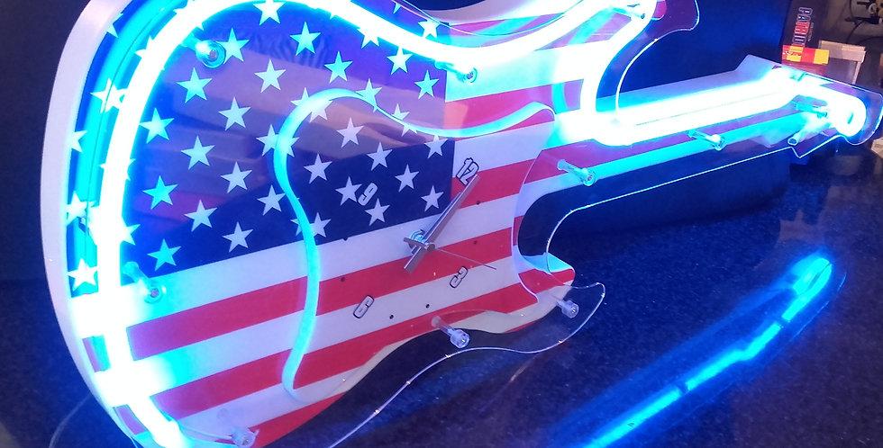 Amerikaanse gitaar neon/klok