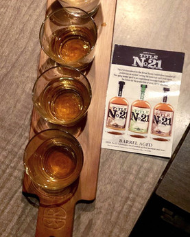 Look for tasting flights of Title No 21 Rye, Bourbon and Whiskey.