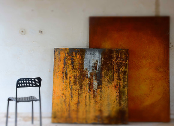 FLAT ART-2- Untitled 2019 - 120x150cm - sand, graphite, paint on canvas