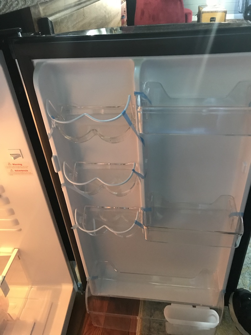 Inside door of fridge