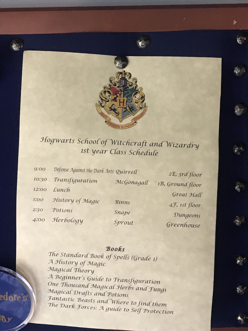 Ravenclaw class schedule
