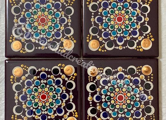 Rainbow Dahlia Mandala Coasters
