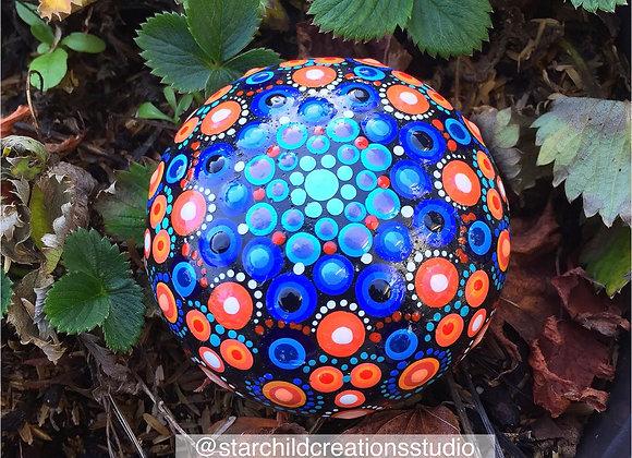 3D Mandala - Blues and Oranges