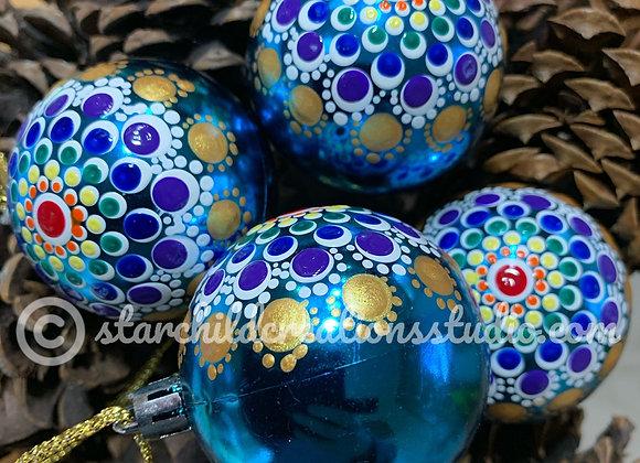 Holiday Mandala Ornament - Rainbow Glitter