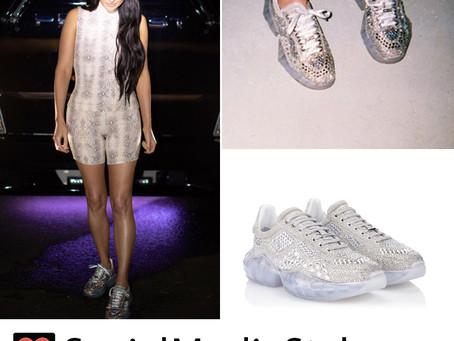 Kacey Musgraves' crystal embellished sneakers