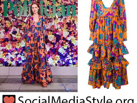 Zoey Deutch's orange floral print dress