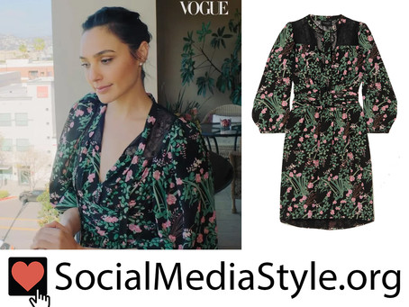 Gal Gadot's lace-trimmed floral print dress from Vogue's 73 Questions