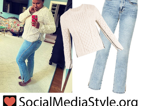 Mindy Kaling's white cable knit sweater and split hem jeans
