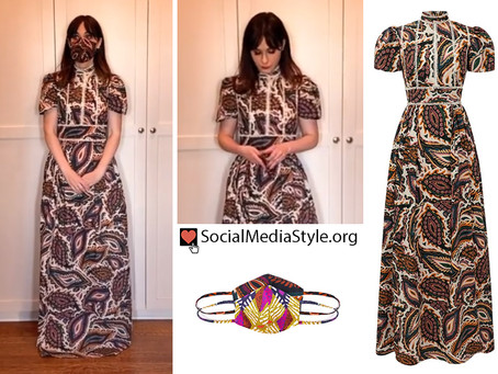 Zooey Deschanel's paisley dress and face mask from The Golden Globes
