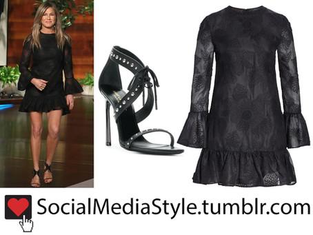 Jennifer Aniston's black dress and sandals from The Ellen DeGeneres Show